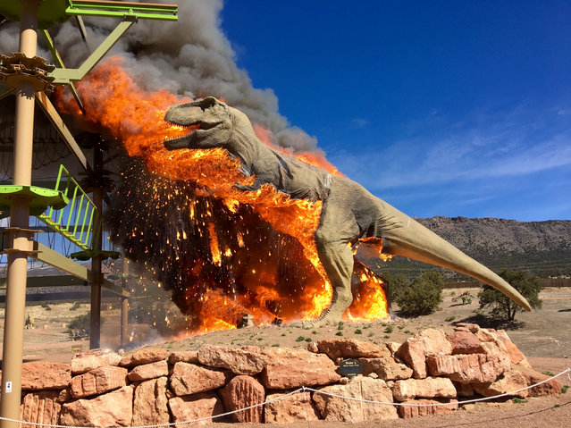 Smoke rises from a replica of a T-Rex after it burst into flames at the Royal Gorge Dinosaur Experience in Canon City, Colorado, U.S. in this picture obtained from social media March 22, 2018. (Photo by Reuters/Royal Gorge Dinosaur Experience)