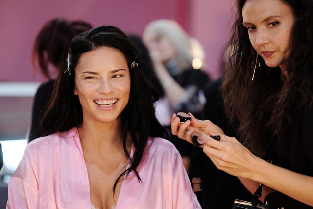 Adriana Lima has her Hair & Makeup done prior the 2016 Victoria's Secret Fashion Show on November 30, 2016 in Paris, France. (Photo by Dimitrios Kambouris/Getty Images for Victoria's Secret)