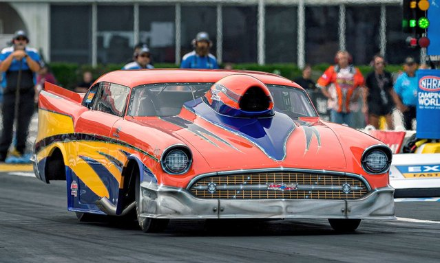 Top Sportsman Rickey Fischer competes during the qualifying round at the NHRA SpringNationals on Saturday, May 22, 2021, at the Houston Raceway in Baytown, Texas. (Photo by Lynn Pennington/ZUMA Wire/Rex Features/Shutterstock)