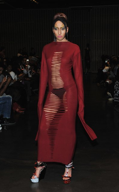 A model walks the runway at the Adrian Alicea fashion show at MIST Harlem during Fall 2016 New York Fashion Week on February 18, 2016 in New York City. (Photo by Fernando Leon/Getty Images)