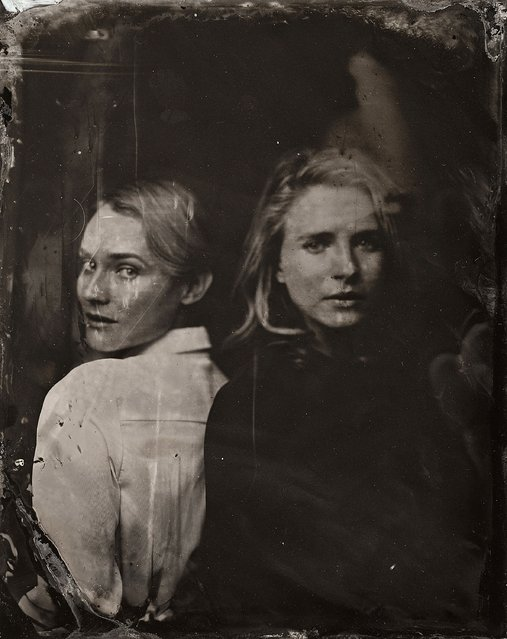 Diane Kruger and Britt Marling pose for a tintype (wet collodion) portrait at The Collective and Gibson Lounge Powered by CEG, during the 2014 Sundance Film Festival in Park City, Utah. (Photo by Victoria Will/AP Photo/Invision)