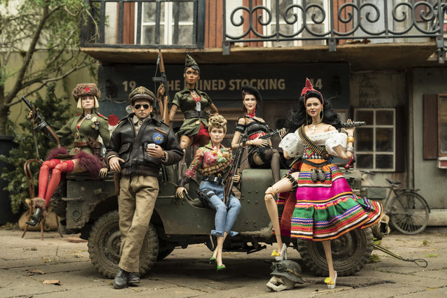 "This image released by Universal Pictures shows the dolls of Marwen, from left, Anna, voiced by Gwendoline Christie, Cap'n Hogie, voiced by Steve Carell, GI Julie, voiced by Janelle Monáe, Roberta, voiced by Merritt Wever, Suzette, voiced by Leslie Zemeckis, and Carlala, voiced by Eiza Gonzalez, in ""Welcome to Marwen"". (Photo by Ed Araquel/Universal Pictures via AP Photo)"