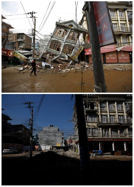 A combination picture shows a man walking along a street near a collapsed house following an earthquake May 1, 2015 (top) and the same location after the debris had been cleared in Kathmandu, Nepal February 17, 2016. The two devastating earthquakes that struck Nepal last year killed almost 9,000 people across the country. Inside the Kathmandu Valley almost 2,000 died, and some of the area's most important cultural and heritage sites were completely destroyed.As Kathmandu inhabitants prepare to mark the one-year anniversary of the event, thousands are still displaced and millions are living in temporary shelters. (Photo by Navesh Chitrakar/Reuters)
