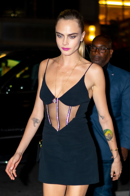 Cara Delevingne is seen in Midtown on September 03, 2019 in New York City. (Photo by Gotham/GC Images)