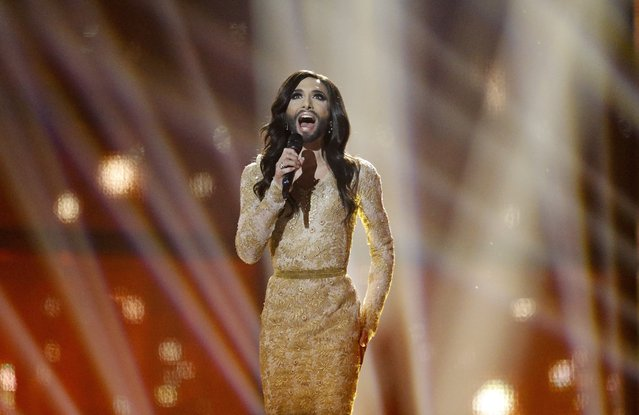 "In this Saturday, May 10, 2014 file photo, Conchita Wurst representing Austria performs the song ""Rise Like a Phoenix"" during the final of the Eurovision Song Contest in the B&W Halls in Copenhagen, Denmark. Wurst was one of the most memorable contestants and winners in the history of Eurovision, which takes place this year in the Swedish capital Stockholm. (Photo by Frank Augstein/AP Photo)"