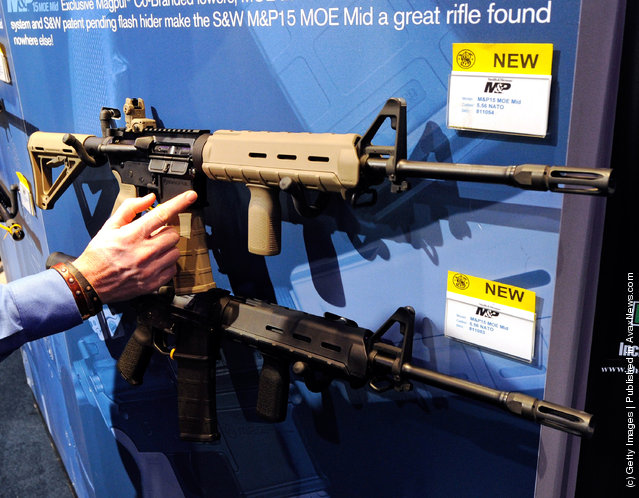 Smith & Wesson M&P15 MOE Mid rifles are displayed at the Smith & Wesson booth