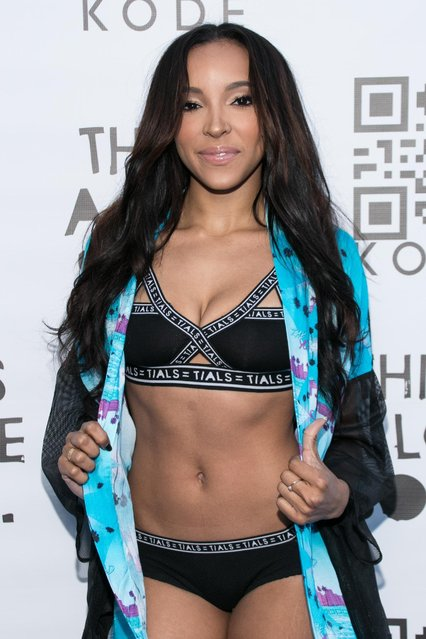 Singer Tinashe arrives at the KODE 6 Party held at The Standard on Sunday, July 12, 2015, in West Hollywood, Calif. (Photo by John Salangsang/Invision/AP Photo)