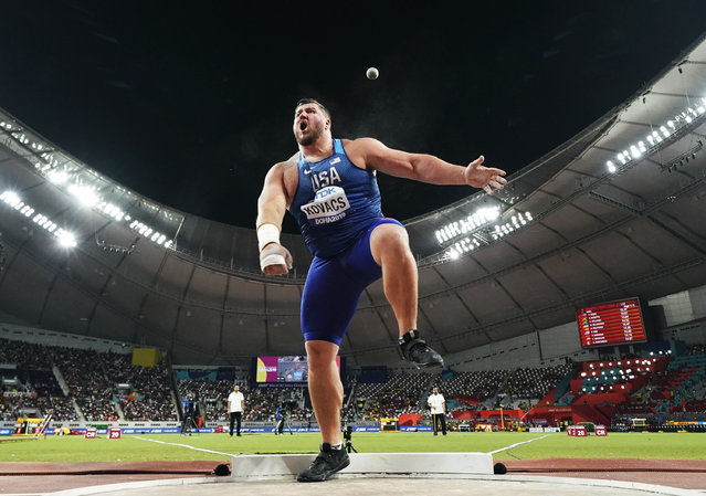 Joe Kovacs, of the United States, competes in the men's shot put final to win the championship record for gold at the World Athletics Championships in Doha, Qatar, Saturday, October 5, 2019. (Photo by David J. Phillip/AP Photo)
