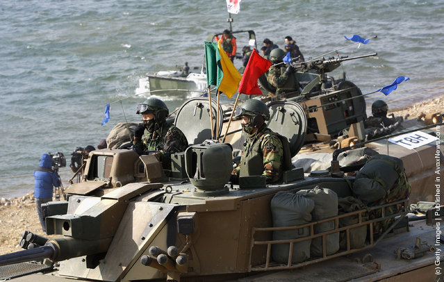 South Korean Army Operates Winter River Crossing Exercise