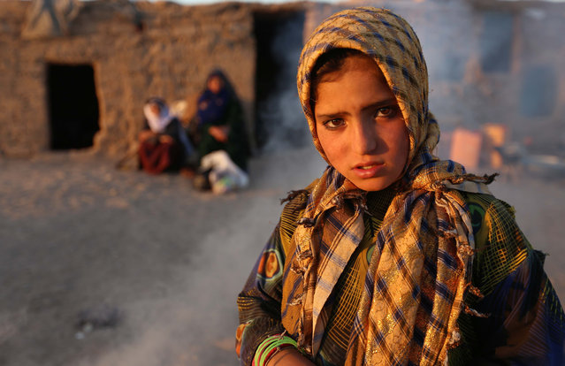 A young internally displaced from Faryab province poses for a picture near her temporary shelter at an Internally Displaced Persons (IDPs) camp on the outskirts of Herat, Afghanistan, 13 October 2015. (Photo by Jalil Rezayee/EPA)
