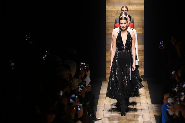 Bella Hadid and models on the catwalk during a Michael Kors show, Fall Winter 2020 in New York, US on February 12, 2020. (Photo by WWD/Rex Features/Shutterstock)