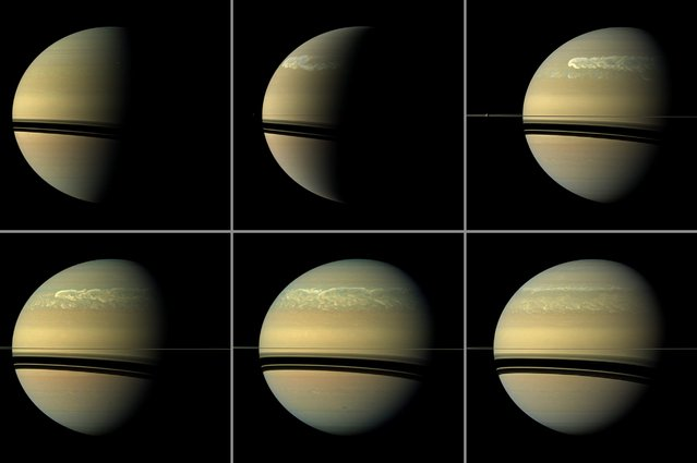 This series of images from NASA's Cassini spacecraft shows the development of the largest storm seen on the planet Saturn since 1990