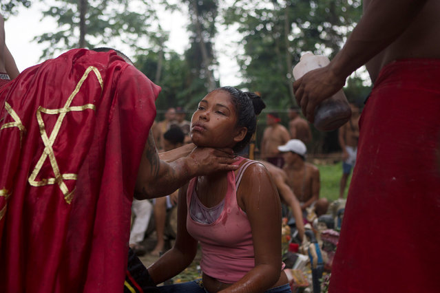People take part in rituals at the Sorte Mountain on the outskirts of Chivacoa, in the state of Yaracuy, Venezuela October 12, 2015. (Photo by Marco Bello/Reuters)