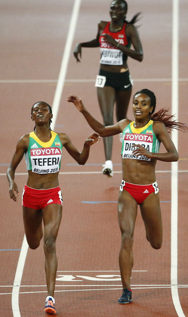 Senbere Teferi of Ethiopia (L) crosses the finish line ahead of compatriot Genzebe Dibaba to finish second in the women's 5000 metres final at the 15th IAAF Championships at the National Stadium in Beijing, China August 30, 2015. Dibaba finished in third place. (Photo by David Gray/Reuters)