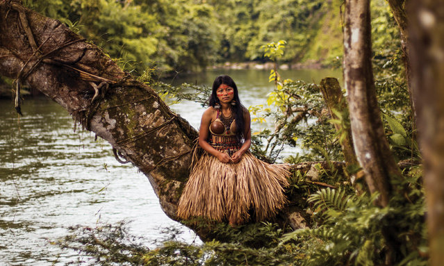 "Ecuador: ""More and more tribes of Amazonia are starting to adopt modern clothes for everyday life. But they are still keeping their traditional clothes for important events. I photographed this young woman in her wedding outfit"". (Photo by Mihaela Noroc/The Guardian)"