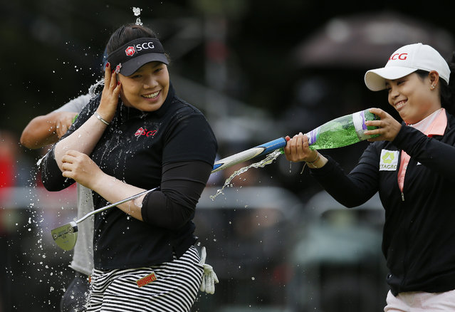 Britain Golf, RICOH Women's British Open 2016, Woburn Golf & Country Club, England on July 31, 2016. Thailand's Ariya Jutanugarn celebrates after Women's British Open 2016. (Photo by Andrew Couldridge/Reuters/Action Images/Livepic)