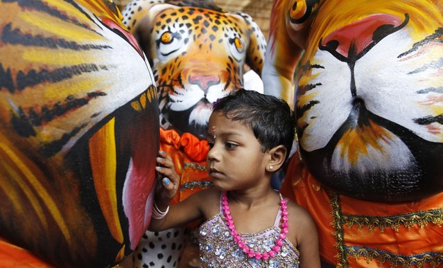 """A child touches the belly of an artist whose body is painted in the likeness of a tiger to perform the annual """"Pulikali"""" or Tiger Dance in Thrissur, in the southern Indian state of Kerala, Wednesday, September 10, 2014. Pulikali is a colorful recreational folk art revolving around the theme of tiger hunting, performed to entertain people during Onam, an annual harvest festival. (Photo by Arun Sankar K./AP Photo)"""