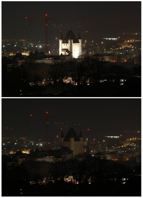 A combination photo shows the castle of Thun before (top) and during Earth Hour in the city of Thun near Bern March 23, 2013. Earth Hour, when everyone around the world is asked to turn off the lights for an hour from 8.30 pm local time, is meant as a show of support for tougher actions to combat climate change. (Photo by Ruben Sprich/Reuters)