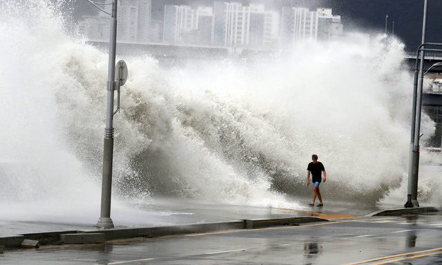A man walks as a wave caused by typhoon Chaba splashes a seawall in Busan, South Korea, October 5, 2016. (Photo by Park Cheol-hong/Reuters/Yonhap)