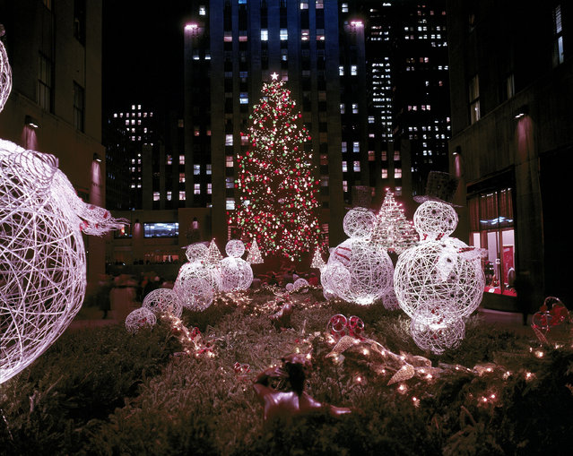 This is a night view of the famous christmas tree at Rockefeller Center, seen through the Channel Gardens from Fifth Avenue, in December 1961. (Photo by AP Photo)
