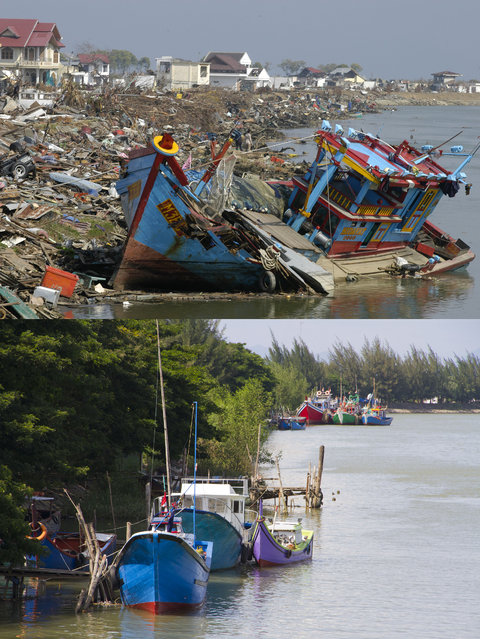 TOP IMAGE: The scene of devastation on the Sungai Krueng river after the Tsunami in Banda, 150 miles from southern Asia's massive earthquake's epicenter on Tuesday January 6, 2005 in Banda Aceh, Indonesia. BOTTOM IMAGE: Boats are docked on the Sungai Krueng river prior to the ten year anniversary of the 2004 earthquake and tsunami on December 12, 2014 in Banda Aceh, Indonesia. (Photo by Stephen Boitano/Barcroft Media)