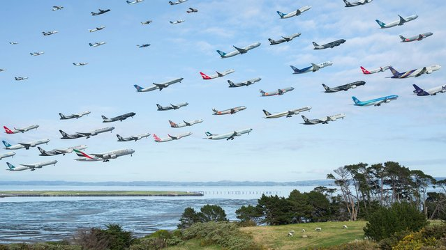 Following the success of his first picture, he set out to visit a number of famous airports – like Aukland – to go and visit. (Photo by Mike Kelley/SWINS)