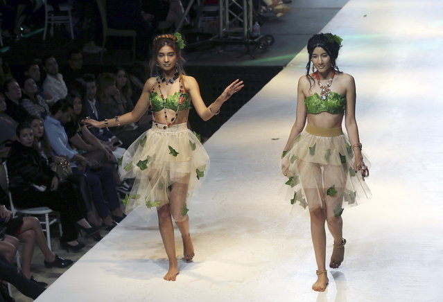 Models exhibit creations by Emotion by Sasio featuring Seyf Dean during the Tunis Fashion Week 2018 in Tunis, Tunisia, 11 May 2018. (Photo by Mohamed Messara/EPA/EFE)
