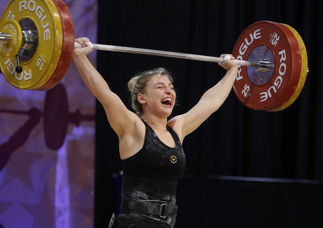 Combined winner Kate Vibert reacts after winning the snatch portion of the women's 69-kilogram competition during the USA National Weightlifting Championships on Saturday, May 26, 2018, in Overland Park, Kan. (Photo by Charlie Riedel/AP Photo)