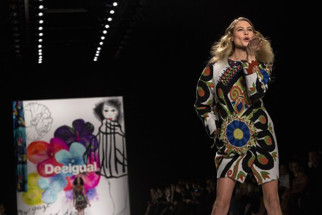 A model presents a creation from the Desigual Fall/Winter 2015 collection during New York Fashion Week February 12, 2015. (Photo by Eric Thayer/Reuters)