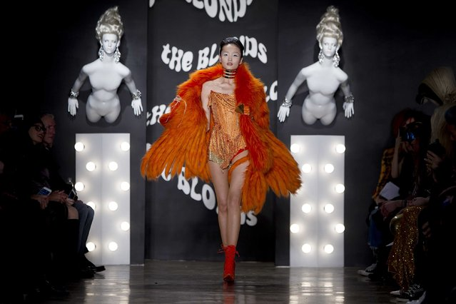 A model presents a creation during The Blonds 2015 collection show at New York Fashion Week, February 19, 2015. (Photo by Carlo Allegri/Reuters)