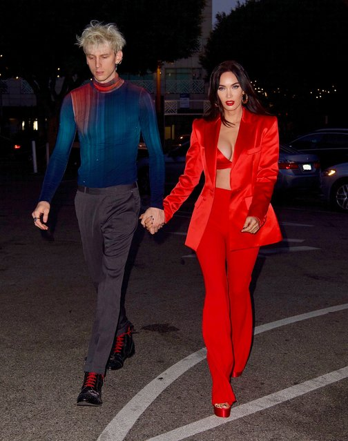 American actress and model Megan Fox nearly busts out of red silk bra as she celebrates 35th birthday with boyfriend Machine Gun Kelly in Santa Monica, California on May 15, 2021. (Photo by Splash News and Pictures)