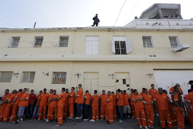 Inmates are seen in the Topo Chico prison during a media tour in Monterrey, Mexico, February 17, 2016. (Photo by Daniel Becerril/Reuters)