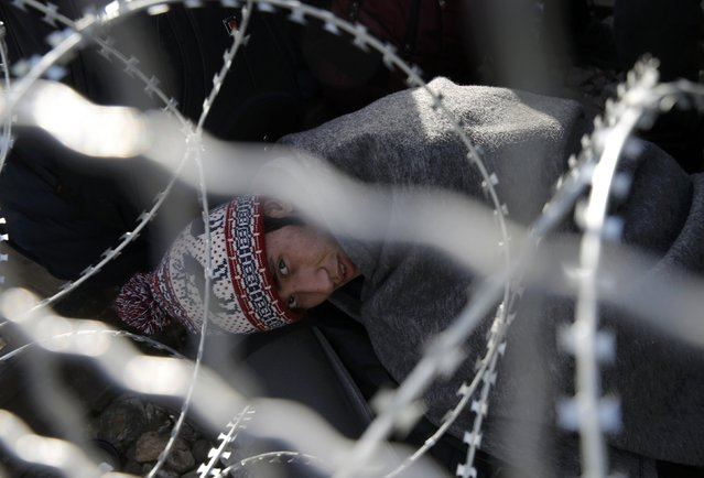 A migrants rests next to a border fence at the Greek-Macedonian border, after additional passage restrictions imposed by Macedonian authorities left hundreds of them stranded near the village of Idomeni, Greece, February 23, 2016. The picture was taken from the Macedonian side of the border. (Photo by Marko Djurica/Reuters)