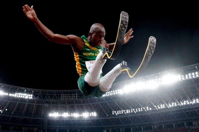 Ntando Mahlangu of Team South Africa competes in the Men's Long Jump - T63 Final on day 4 of the Tokyo 2020 Paralympic Games at Olympic Stadium on August 28, 2021 in Tokyo, Japan. (Photo by Athit Perawongmetha/Reuters)