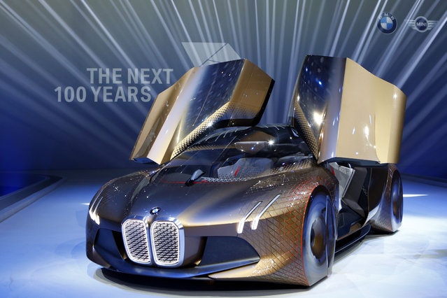 "German car manufacturer BMW presents the ""Vision Next 100"" concept car during the 100th anniversary celebrations in Munich, Germany, Monday, March 7, 2016. (Photo by Matthias Schrader/AP Photo)"