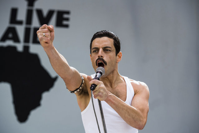 "This image released by Twentieth Century Fox shows Rami Malek in a scene from ""Bohemian Rhapsody"". On Thursday, Dec. 6, 2018, Malek was nominated for a Golden Globe award for lead actor in a motion picture drama for his role in the film. The 76th Golden Globe Awards will be held on Sunday, Jan. 6. (Photo by Alex Bailey/Twentieth Century Fox via AP Photo)"