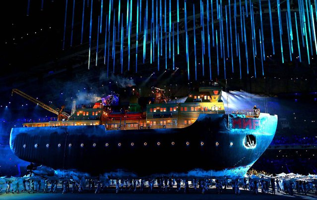 A giant ice breaker ship enters the arena carrying Russian soprano Maria Guleghina during the Opening Ceremony of the Sochi 2014 Paralympic Winter Games at Fisht Olympic Stadium, on March 7, 2014. (Photo by Ronald Martinez/Getty Images)