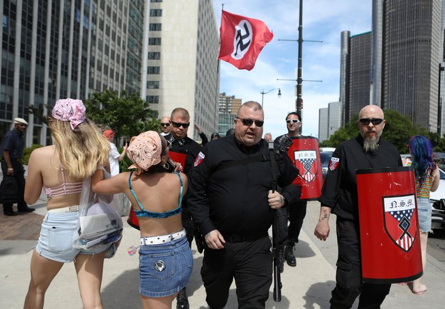 Members of the National Socialist Movement, a white nationalist group, demonstrate against the LGBTQ event Motor City Pride in Detroit, Michigan, U.S., June 8, 2019. (Photo by Jim Urquhart/Reuters)