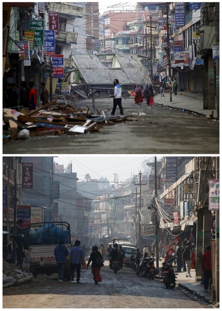 A combination picture shows people walking along a deserted road near a collapsed house after an earthquake April 29, 2015 (top) and the same location in Kathmandu, Nepal February 17, 2016. (Photo by Navesh Chitrakar/Reuters)