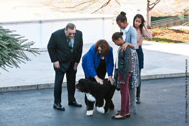 National Christmas Tree Association Grand Champion winners Tom Schroeder (L) and Sue Schroeder (2L) pet Bo, the Obama family's dog, as first lady Michelle Obama (2R) , and daughters Sasha Obama (C) and Malia Obama are presented with the official White House Christmas Tree
