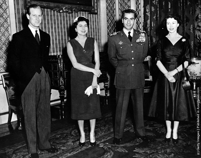 19th February 1955:  Royal guests at Buckingham Palace. From left to right, HRH the Duke of Edinburgh, Queen Soraya of Persia, The Shah of Persia and HM The Queen