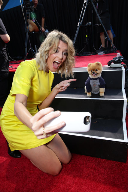 """Jenna Marbles seen at the Los Angeles Premiere of AwesomenessTV and Defy Media's """"SMOSH: THE MOVIE"""" held at Westwood Village Theatre on Wednesday, July 22, 2015, in Los Angeles. (Photo by Eric Charbonneau/Invision for AwesomenessTV/AP Images)"""