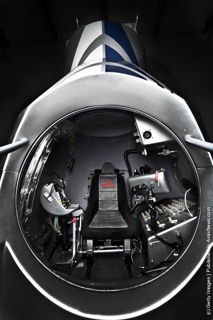 The interior is diplayed of the capsule for the Red Bull Stratos project