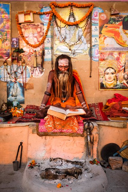 """""""Varanasi Guru"""". This picture was taken in Varanasi, India at sunrise on the banks of the Ganges River. Photo location: Varanasi, India. (Photo and caption by David Caldwell/National Geographic Photo Contest)"""