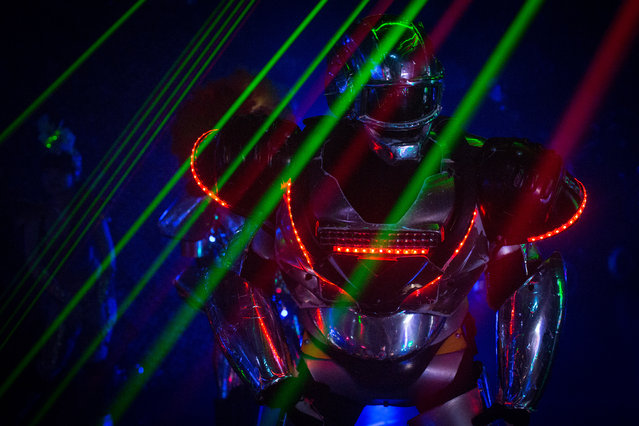 A performer dressed as a Robot is seen during a show at The Robot Restaurant on June 29, 2014 in Tokyo, Japan. The now famous Robot Restaurant opened two years ago in Kabukicho area of Shinjuku at an estimated cost of 10 million U.S. dollars. (Photo by Chris McGrath/Getty Images)