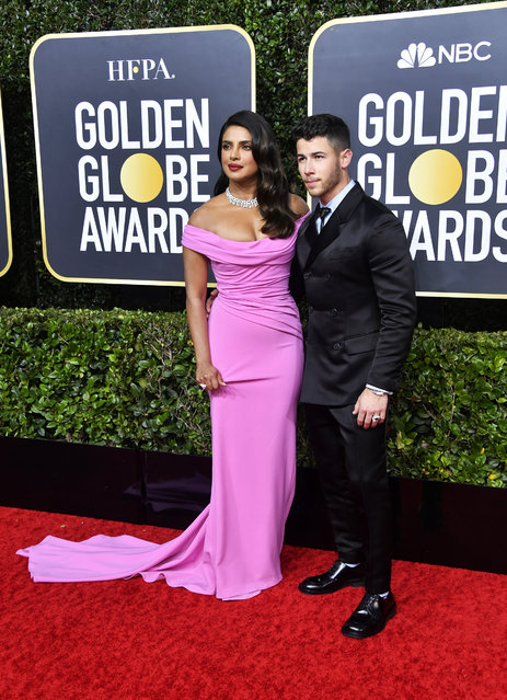 (L-R) Priyanka Chopra Jonas and Nick Jonas attend the 77th Annual Golden Globe Awards at The Beverly Hilton Hotel on January 05, 2020 in Beverly Hills, California. (Photo by Frazer Harrison/Getty Images)