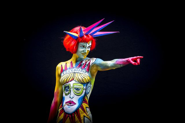 A model poses at the World Bodypainting Festival 2014 on July 4, 2014 in Poertschach am Woerthersee, Austria. (Photo by Jan Hetfleisch/Getty Images)