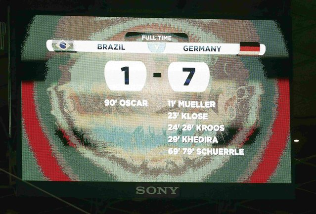A general view of the scoreboard shows the results at the end of the 2014 World Cup semi-finals between Brazil and Germany at the Mineirao stadium in Belo Horizonte July 8, 2014. (Photo by Kai Pfaffenbach/Reuters)