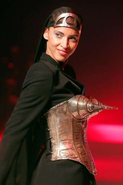 Noemie Lenoir presents a creation by designer Jean Paul Gaultier as part of his Haute Couture Spring/Summer 2020 collection show in Paris, France, January 22, 2020. Picture taken January 22, 2020. (Photo by Charles Platiau/Reuters)