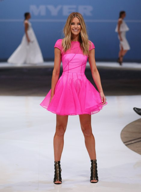 Jennifer Hawkins showcases designs by Alex Perry during the Myer Spring 2015 Fashion Launch on August 13, 2015 in Sydney, Australia. (Photo by Don Arnold/Getty Images)
